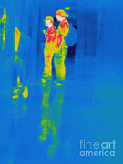 Thermogram Prints - Thermogram Of Students At A Locker Print by Ted Kinsman