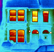 Thermograph Framed Prints - Thermogram Showing Heat Loss From A House Framed Print by Dr. Arthur Tucker