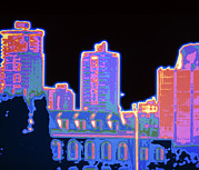 City Buildings Prints - Thermogram Showing Heat Loss From City Buildings Print by Pasieka