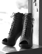 Open Toe Shoes Posters - These Boots Poster by Telitha Johnson