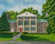 Building Painting Originals - Theta Chi by Charlotte Blanchard
