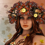 Long Hair Digital Art Prints - They Call Her Autumn Print by Jutta Maria Pusl