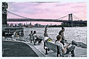 Williamsburg Photos - They Gathered at the Williamsburg Bridge by Madeline Ellis