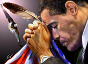 United States Of America Paintings - They Shall Mount Up with Wings Like Eagles -  President Obama  by Reggie Duffie