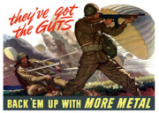 Vintage Digital Art Metal Prints - Theyve Got The Guts Metal Print by War Is Hell Store