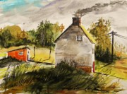 Old Shed Drawings - Thick Clouds by John  Williams
