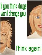 Healing Posters Painting Metal Prints - Think again Metal Print by  Laurie Homan