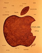 Apple Paintings - Think Different Steve Jobs 2 by Georgeta  Blanaru