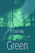 Robert R Splashy Art - Think Green Earth Poster...