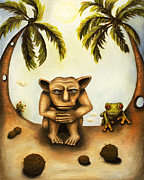 Gargoyle Framed Prints - Thinking About Coconuts Framed Print by Leah Saulnier The Painting Maniac