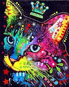 Kitty Mixed Media - Thinking Cat Crowned by Dean Russo