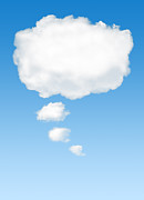 Text Photo Prints - Thinking Cloud Print by Carlos Caetano
