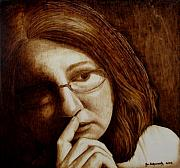 Woodburning Pyrography - Thinking by Jo Schwartz