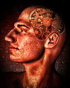 Surreal Digital Art Prints - Thinking Man Print by Bob Orsillo