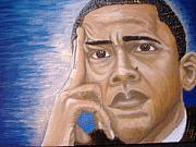 Barack Obama Mixed Media Prints - Thinking of A Master Plan Print by Keenya  Woods
