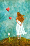Balloon Flower Art - Thinking of You by Ana CBStudio