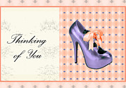 Prints Of Fashion Posters - Thinking of You Bow Shoe Poster by Maralaina Holliday