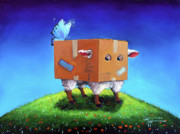 Humor Painting Prints - Thinking Outside The Box Print by Conni Togel