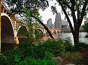 Minneapolis Skyline Prints - Third Avenue Bridge Print by Tom Reynen