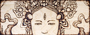 Asian Pyrography Framed Prints - Third Eye Framed Print by Nozomi Takeyabu