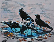 Crows Paintings - Thirsty Crows by Christine Karron