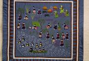 Ethnic Framed Prints - This Hmong Quilt Depicts Villagers Framed Print by Robert S. Oakes