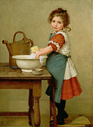 Little Girl Girl Posters - This Is the Way We Wash Our Clothes  Poster by George Dunlop Leslie
