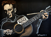 Guitar God Painting Originals - This Machine Kills Fascists by David Fossaceca