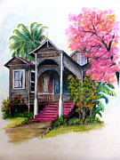 Pink Poui Pastels Posters - This Old House  Poster by Karin Best