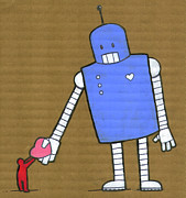 Vertical Digital Art Prints - This Robot Has Heart Print by All images © Tyler Garrison, 2009.