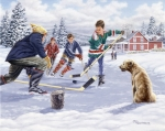 Pond Hockey Painting Framed Prints - This Time For Sure Framed Print by Richard De Wolfe