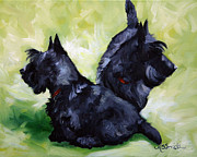 Scottish Terrier Puppy Prints - This Way or That  Print by Mary Sparrow Smith