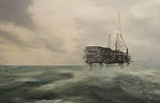 Sea Platform Painting Posters - Thistle Alpha-North Sea Poster by Douglas Ann Slusher