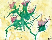 Drips Paintings - Thistles by Nicole Mittelbrunn