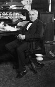 1910s Portrait Posters - Thomas A. Edison 1847-1931 At His Desk Poster by Everett