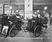 Stock Ticker Prints - Thomas Edison In Quadricycle Print by Photo Researchers