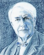 Leader Drawings Prints - Thomas Edison Print by Yoshiko Mishina