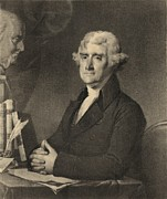 Radicals Framed Prints - Thomas Jefferson 1743-1826 At A Writing Framed Print by Everett