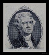 Patriots Prints - Thomas Jefferson 2 Dollar Bill Portrait Print by Rob Hans
