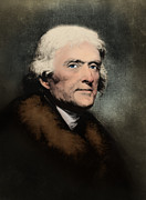 Declaration Of Independence Prints - Thomas Jefferson, 3rd American President Print by Omikron