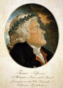 Thomas Jefferson, Color Aquatint Afte Print by Everett