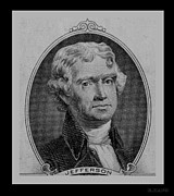 4th July Digital Art Posters - THOMAS JEFFERSON in BLACK AND WHITE Poster by Rob Hans