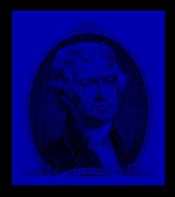 4th July Digital Art Posters - THOMAS JEFFERSON in BLUE Poster by Rob Hans