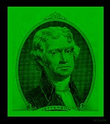 Patriots Framed Prints - THOMAS JEFFERSON in GREEN Framed Print by Rob Hans