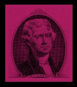 4th July Digital Art Posters - THOMAS JEFFERSON in HOT PINK Poster by Rob Hans