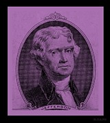 U S Founding Father Posters - THOMAS JEFFERSON in LIGHT PINK Poster by Rob Hans