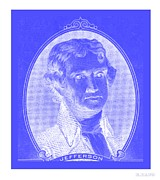 Patriots Framed Prints - THOMAS JEFFERSON in NEGATIVE BLUE Framed Print by Rob Hans
