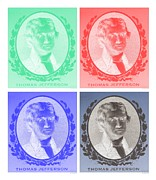 Thomas Jefferson Posters - THOMAS JEFFERSON in NEGATIVE COLORS Poster by Rob Hans