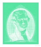 4th July Digital Art Posters - THOMAS JEFFERSON iN NEGATIVE GREEN Poster by Rob Hans