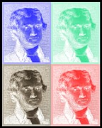 Thomas Jefferson Prints - THOMAS JEFFERSON in NEGATIVE QUAD COLORS Print by Rob Hans
